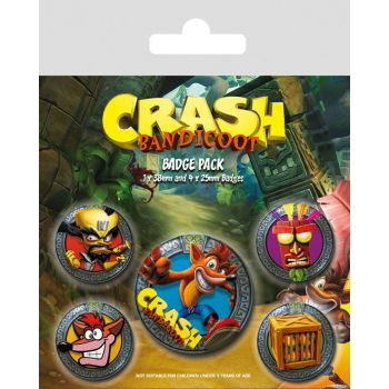 Crash Bandicoot pack 5 badges Pop Out