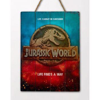 Jurassic World tableau en bois WoodArts 3D Logo 30 x 40 cm