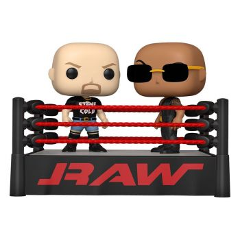 WWE pack 2 POP Moment! Vinyl figurines The Rock vs Stone Cold in Wrestling Ring 9 cm