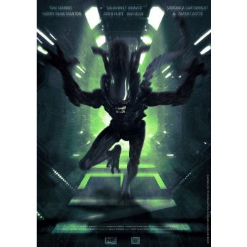Alien lithographie Attack 42 x 30 cm