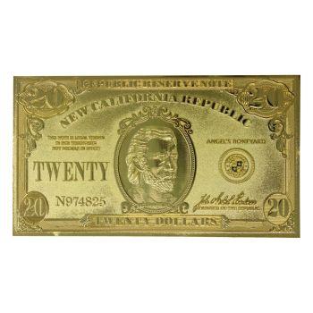 Fallout : New Vegas réplique New California Republik 20 Dollar Bill (plaqué or)