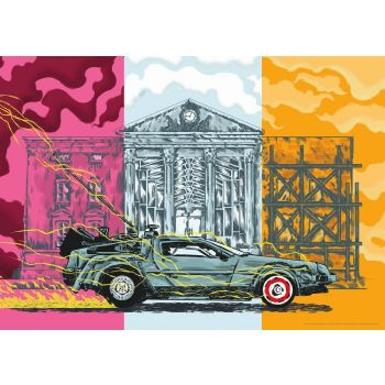 Retour vers le futur lithographie Choper Nawers DeLorean Limited Edition 42 x 30 cm