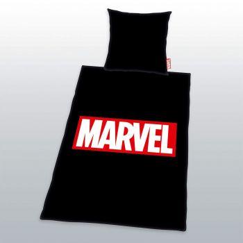 Marvel Comics parure de lit Logo Noir 135 x 200 cm / 80 x 80 cm