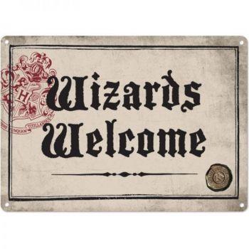 Harry Potter panneau métal Wizards Welcome 21 x 15 cm