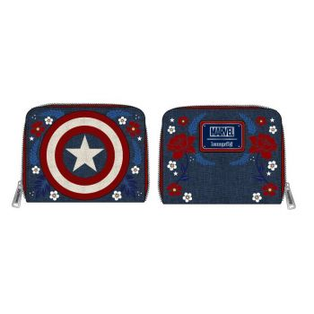 Marvel by Loungefly Porte-monnaie Captain America 80th Anniversary Floral Shield