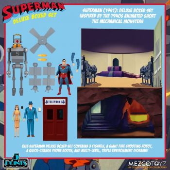 Superman The Mechanical Monsters (1941) figurines 5 Points Deluxe Box Set 10 cm