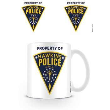 Stranger Things mug Hawkins Police Badge