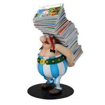 Asterix statuette Collectoys Obelix pile d'albums 21 cm