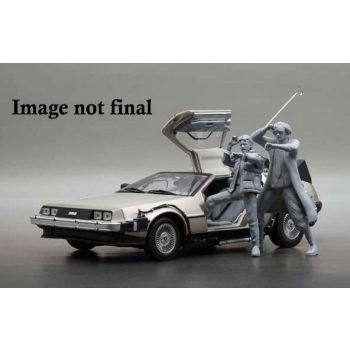Retour vers le futur 1983 DeLorean 1/18 métal avec figurine de Marty McFly