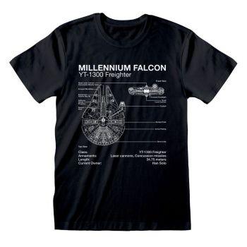 Star Wars T-Shirt Millenium Falcon Sketch