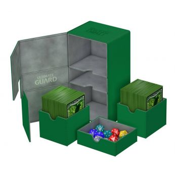Ultimate Guard boîte pour cartes Twin Flip´n´Tray Deck Case 200+ taille standard XenoSkin Vert