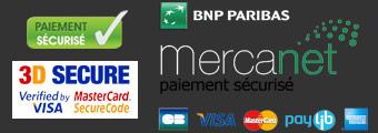 Paiement sécurisé assuré par Mercanet, la solution de BNP Paribas.