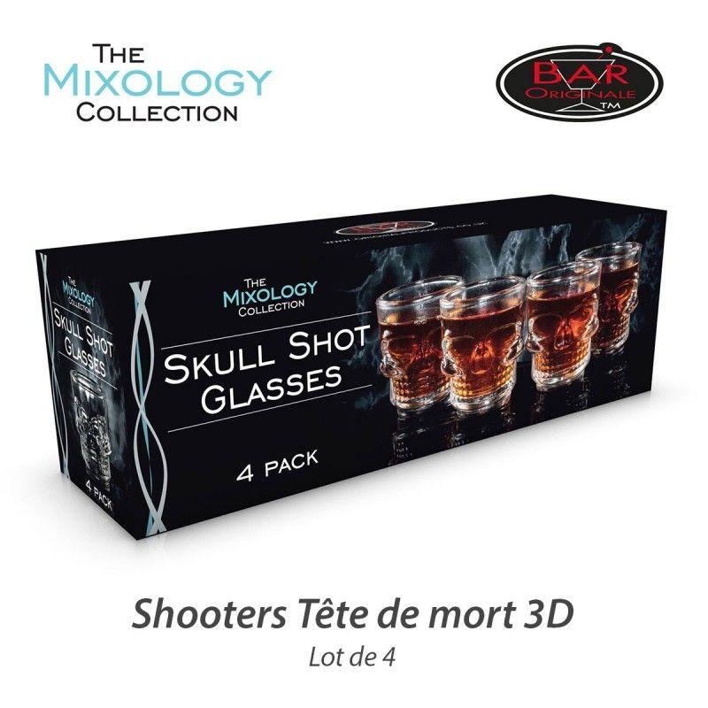 Set de Shooters T/ête de Mort en Relief pack de 4