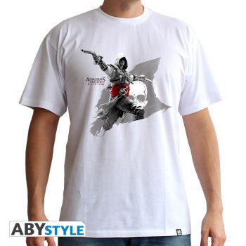 ASSASSIN'S CREED - Tshirt -Edward Flag- homme MC white - basic