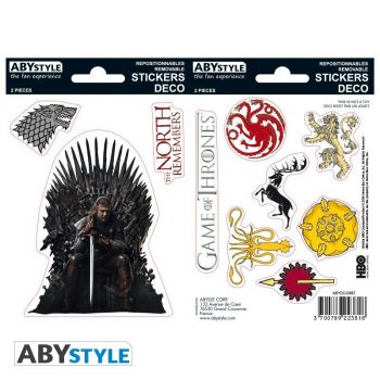 GAME OF THRONES - Stickers - 16x11cm/ 2 planches - Stark/ Sigils
