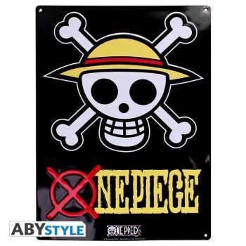 ONE PIECE - Plaque métal -Skull - Luffy- (28x38) Broch.