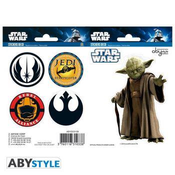 STAR WARS - Stickers - 16x11cm/ 2 planches - Yoda / Symboles