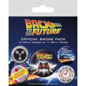 Retour vers le Futur pack 5 badges DeLorean