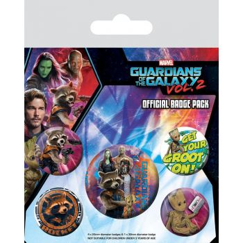 Les Gardiens de la Galaxie Vol. 2 pack 5 badges Rocket & Groot