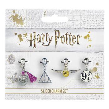 Harry Potter pack 4 breloques plaquées argent Snitch/Deathly Hallows/Platform 9 3/4/Love Potion