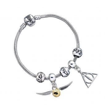 Harry Potter bracelet pour breloques plaqué argent Charm Set Deathly Hallows/Snitch/3 Spell Beads