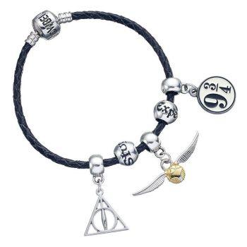Harry Potter bracelet pour breloques cuir Set Deathly Hallows/Snitch/Platform 9 3/4/2 Spellbeads