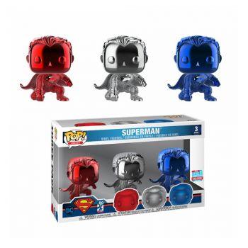 Justice League pack 3 figurines POP! Vinyl Superman (Landing) (Chrome) Fall Convention 2018 9 cm