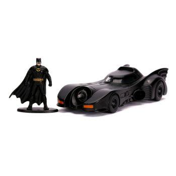 Batman 1989 1/32 Hollywood Rides 1989 Batmobile métal avec figurine --- EMBALLAGE ENDOMMAGE