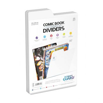 Ultimate Guard 25 intercalaires pour Comics Premium Comic Book Dividers Blanc