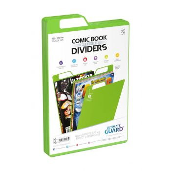 Ultimate Guard 25 intercalaires pour Comics Premium Comic Book Dividers Vert