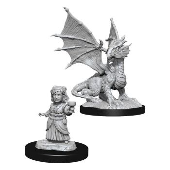 D&D Nolzur's Marvelous Miniatures miniatures à peindre Silver Dragon Wyrmling & Female Halfling (6)